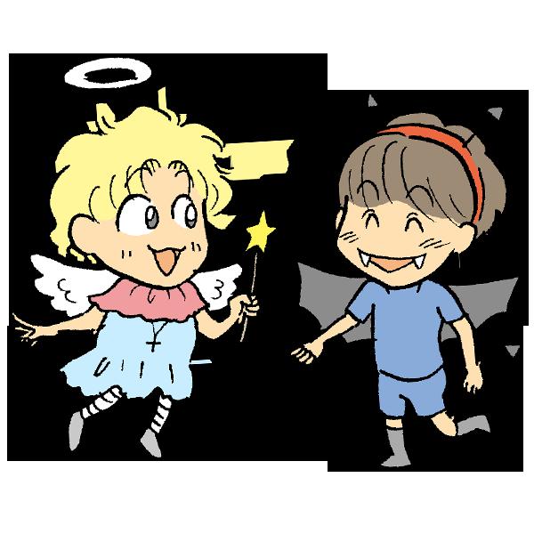 楽しそうに話す天使と悪魔